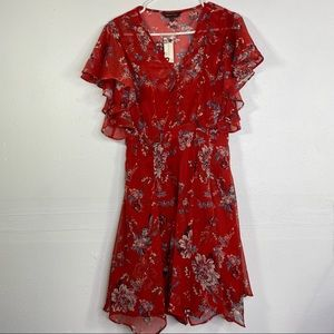 Anthropologie RANNA GILL Red Floral Keira Dress S